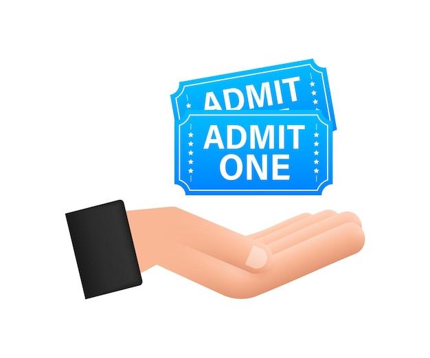 Billet de spectacle bleu réaliste suspendu au-dessus des mains. anciens billets d'entrée au cinéma premium.