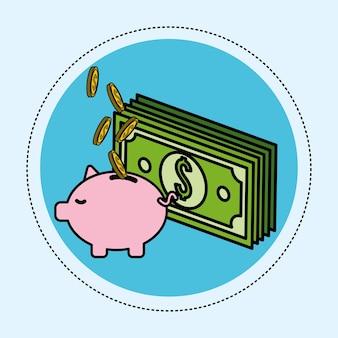 Billet vert avec des pièces de monnaie dans le cochon