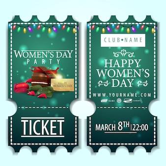 Billet vert pour la fête des femmes avec des bonbons