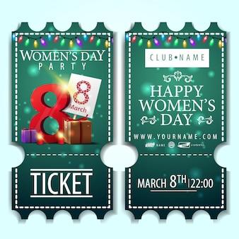 Billet vert pour la fête des femmes avec des cadeaux