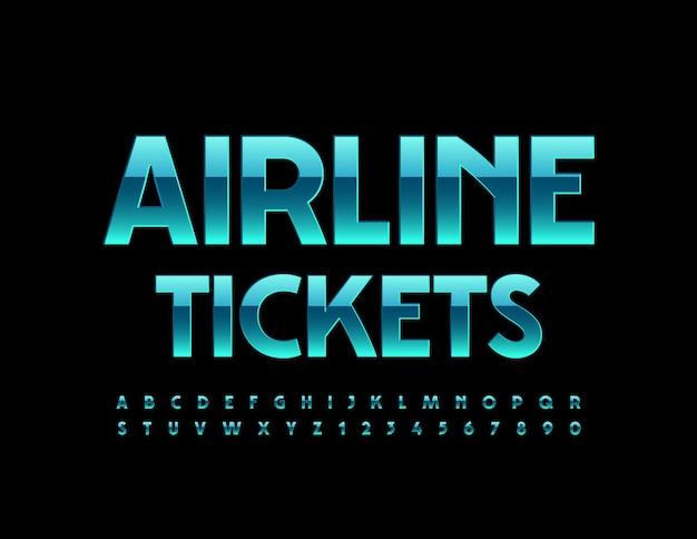Billets d'avion bleu brillant police alphabet élégant ensemble de lettres et de chiffres