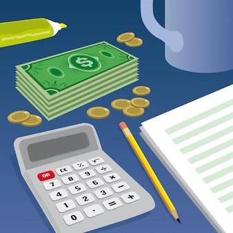 Billets de banque, pièces de monnaie et calculatrice