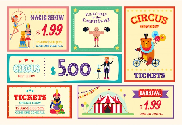 Billets de carte affiche cirque amusement bannière set illustration. carnaval de spectacles de cirque, spectacle de magie, dressage d'animaux sauvages, aéronautes et athlètes.