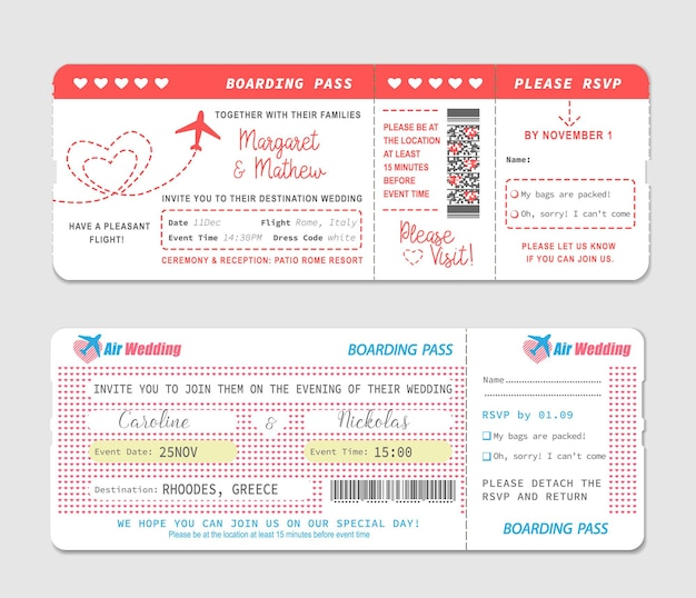 Billets de carte d'embarquement, modèle d'invitation de mariage