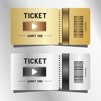 Billets de cinéma argent et or
