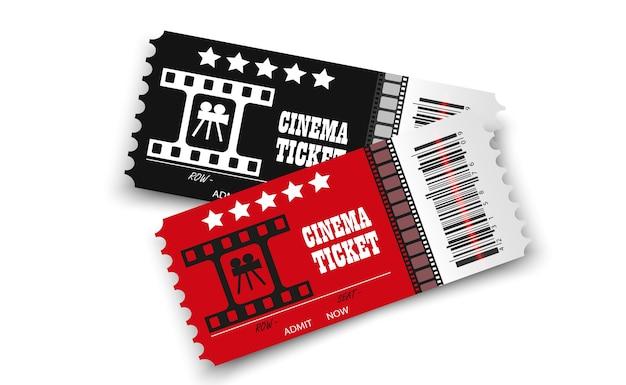 Billets de cinéma isolés sur fond transparent billet d'entrée de cinéma réaliste
