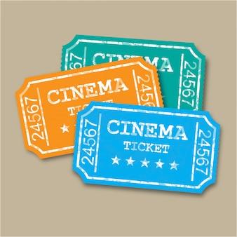 Billets de cinéma en papier rétro réalistes