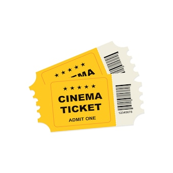 Billets de cinéma rétro jaune