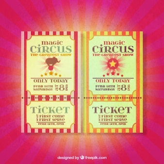 Billets de cirque drôles dans le style rétro