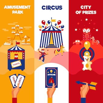 Billets de cirque du parc d'attractions 3 bannières verticales