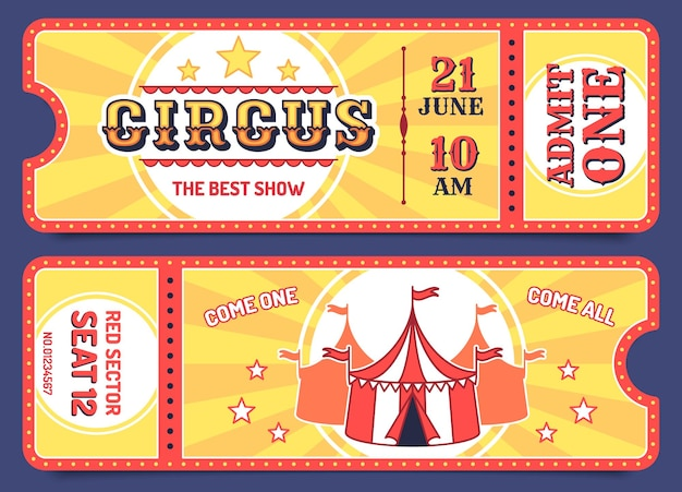 Billets de cirque. modèles de billets d'entrée avec exemple de texte, coupon d'invitation pour les attractions, événements de carnaval, ensemble de vecteurs rétro de spectacle de magie. admettre une mention de coupon, performance divertissante