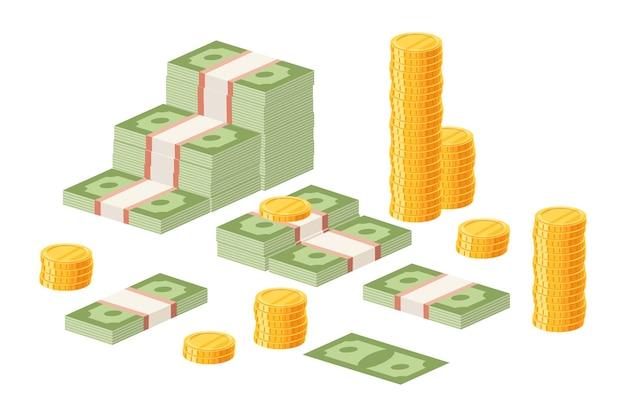 Billets d'un dollar emballés et pièces d'or