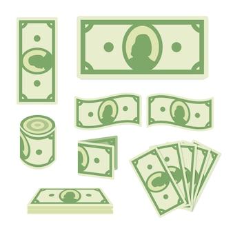 Billets De Dollar Vert Sur Fond Blanc Vecteur Premium