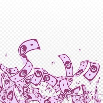 Les billets en euros de l'union européenne tombent. factures eur en désordre sur fond transparent. l'argent européen. illustration vectorielle attrayante. concept étonnant de jackpot, de richesse ou de réussite.