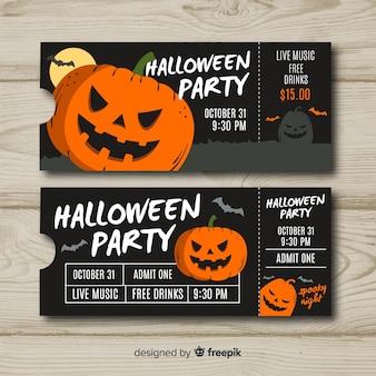 Billets de fête d'halloween au design plat