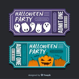 Billets de fête d'halloween sur design plat