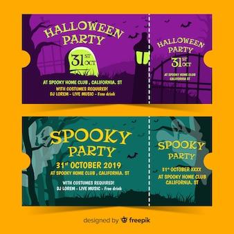 Billets de fête halloween effrayants dessinés à la main