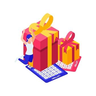Billets de gagnant de loterie heureux et présente l'illustration isométrique 3d