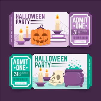Billets d'halloween au design plat