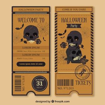 Billets de halloween avec style rétro