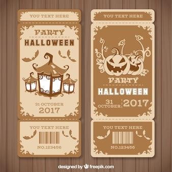 Billets de halloween avec style vintage