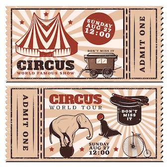Billets horizontaux publicitaires de spectacle de cirque vintage
