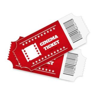 Billets isolés sur fond blanc. vue de face réaliste. billet de cinéma couleur.