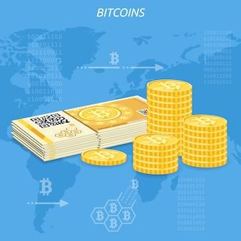 Billets et pièces de monnaie bitcoin en crypto-monnaie
