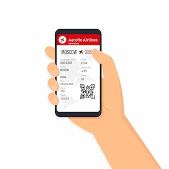 Billets pour l'avion sur smartphone