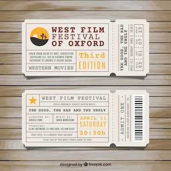 Les billets pour festival du film de l'ouest