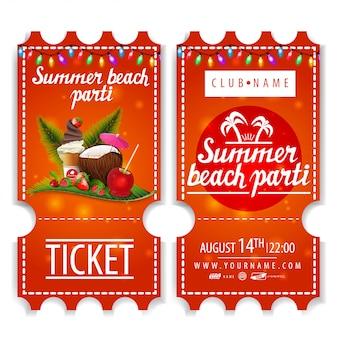 Billets pour la fête de plage d'été