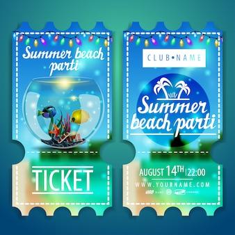 Billets pour une fête sur la plage avec un magnifique paysage d'été