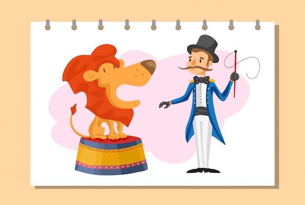 Billets pour des spectacles de magie dans un style bande dessinée avec des drapeaux de chapiteau de cirque