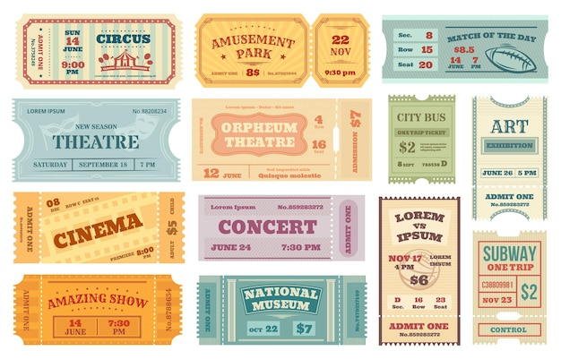 Billets rétro pour cinéma, film vintage, billet de concert ou de théâtre. ancien coupon d'admission papier, carte d'invitation pour l'événement, ensemble de vecteurs de laissez-passer de voyage. parc d'attractions, entrée du musée national