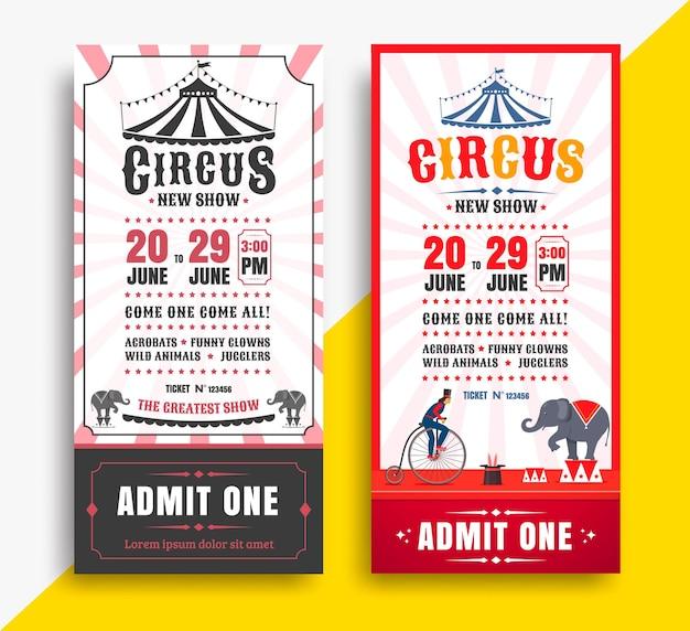 Billets de spectacle de cirque avec tente.