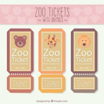 Billets de zoo mignon fixés avec des animaux