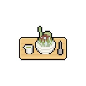 Bingsu de thé vert de dessin animé de pixel art.