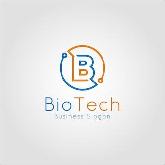 Bio tech - modèle de logo de la lettre b