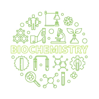 Biochimie contour vert rond illustration