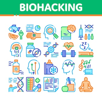 Biohacking collection elements icons set