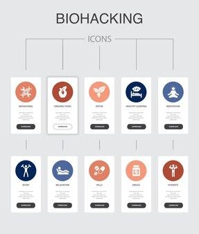 Biohacking infographic 10 étapes ui design.organic food, sommeil sain, méditation, drogues icônes simples
