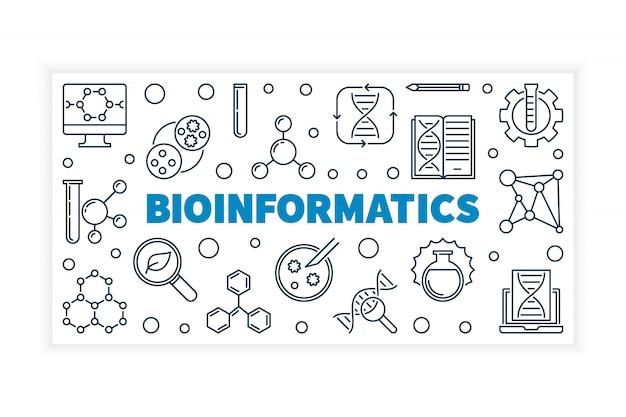 Bioinformatique vectorielle illustration de concept ou de bannière dans le style de ligne fine sur fond blanc