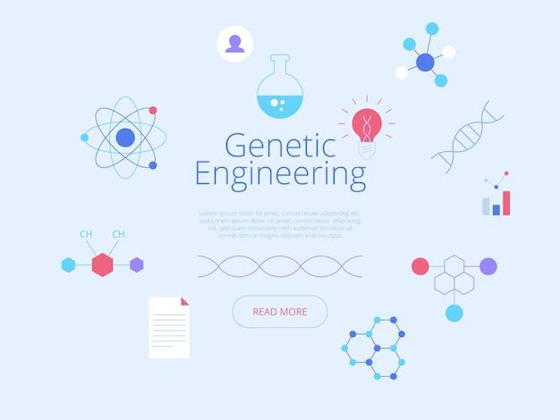 Biotechnologie. idée d'interface de page d'accueil de site web de médecine futuriste avec des illustrations plates
