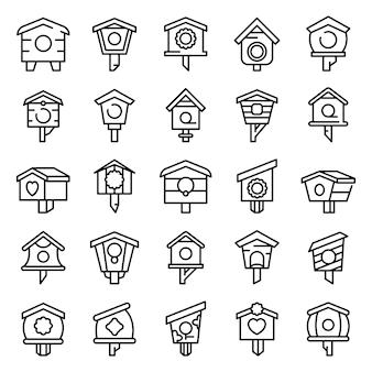 Bird house icons set, style de contour