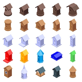 Bird house icons set, style isométrique