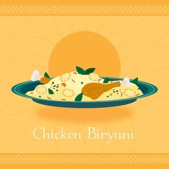 Biryani de poulet dessiné à la main