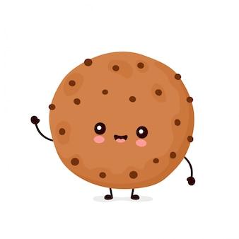 Biscuit au chocolat drôle heureux mignon.