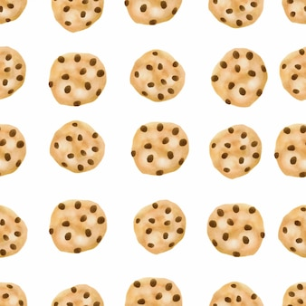 Biscuit aux pépites de chocolat modèle sans couture aquarelle cookies