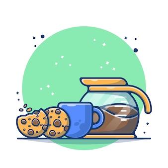 Biscuit avec café chaud et pot de café
