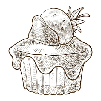 Biscuit avec décoration de fraises sur le dessus et garniture au chocolat ou crème dégoulinante